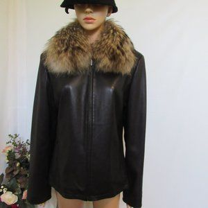 Marvin Richards Leather Coat With Fur Collar Large